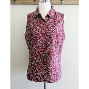 Sleeveless button front patterned shirt
